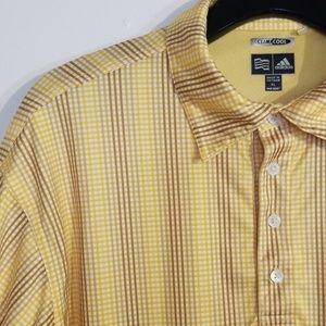 EUC Adidas Climacool Checkered Yellow Polo Shirt
